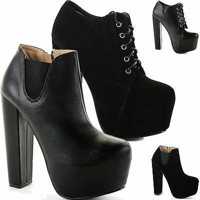 WOMENS LADIES HIGH BLOCK HEEL CHELSEA ANKLE PLATFORM BOOTS BOOTIES SHOES SIZE