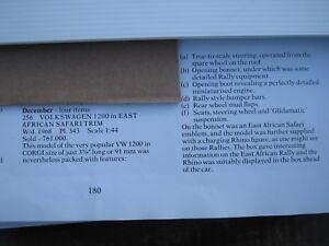 Corgi 256 Vw East African Safari Toutes voitures d'origine / boîte (copie de la feuille) Très bien.