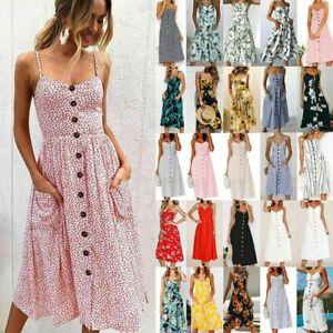 Boho-Women-Ladies-Summer-Beach-Midi-Dress-Holiday-Strappy-Button-Sundresses-New