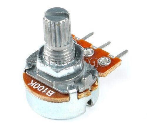 10PCS 100K ohm Linear Taper Rotary Potentiometer Panel pot B100K 15mm WH148 3Pin