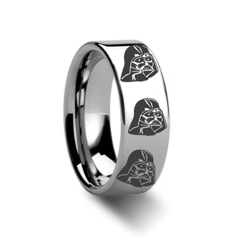 BRAND NEW Darth Vader Star Wars Polished Tungsten Engraved Ring Jewelry - 8mm