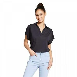 NWT-Mossimo-Women-039-s-Modal-Y-Neckl-Short-Sleeve-Relaxed-Polo-Shirt-Blouse-Top