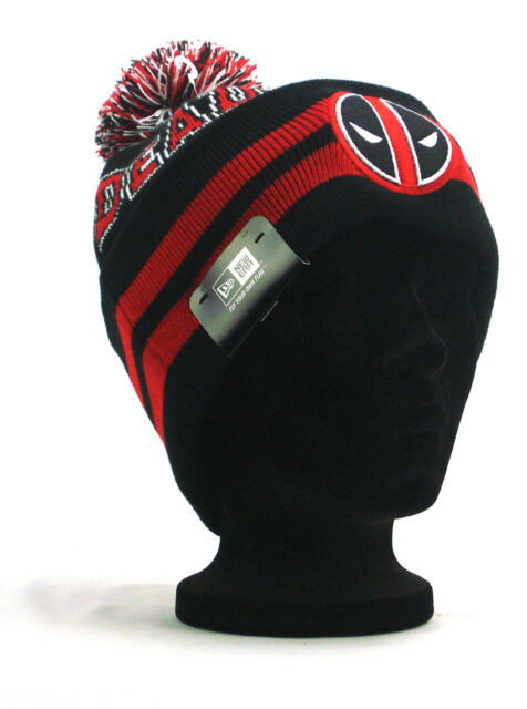 85603c99cdf New Era Deadpool Cuff Knit Winter Snow Hat Marvel Collegiate Striped Black  NWT