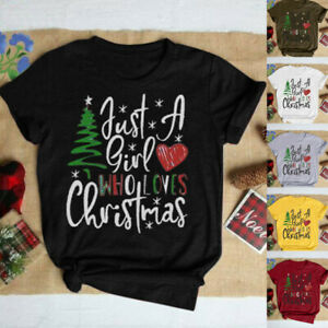 Women-Fashion-Christmas-Tree-Casual-Loose-Just-A-Girl-Loves-Tops-Blouse-T-Shirt