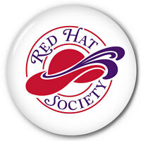 S20 (100)red Hat Society 3 Celluloid Pin Back Button Official Licensed Product