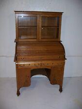 Beautiful Quarter Sawn Oak Macy Bookcase top Roll Top Desk