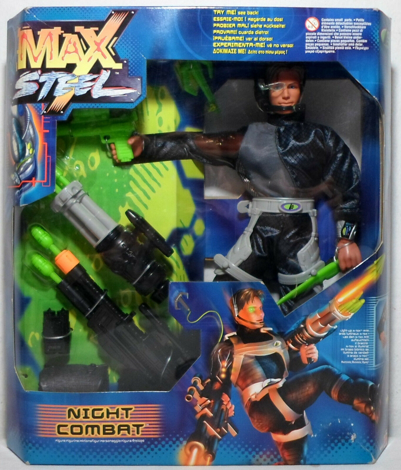 MATTEL MAX STEEL 1999 NIGHT COMBAT 12'' ACTION FIGURE MISP EUROPEAN NEW SEALED