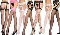 Lingerie Garter Belt Stocking Fishnet Sheer Lace Thigh High Regular Or Plus Size