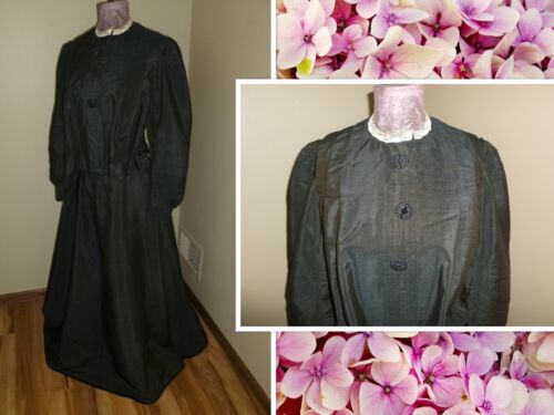 RARE Victorian-style Costume Medallion Blouse w Silk Embroidered Detachable Bustle