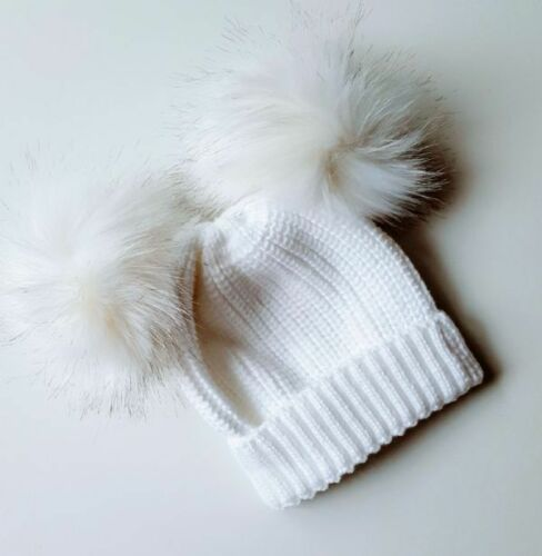 Baby White Double Pom-Pom Winter Wooly Knitted Hat