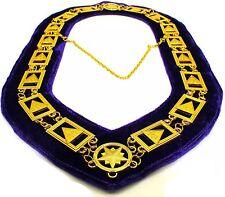 33rd Degree Masonic Chain Collar Scottish Rite Jewel Regalia Medal Purple Backin