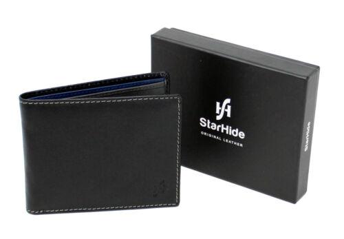 Starhide Gents RFID BLOCKING Real Leather Billfold Wallet Black Grey Blue 1160