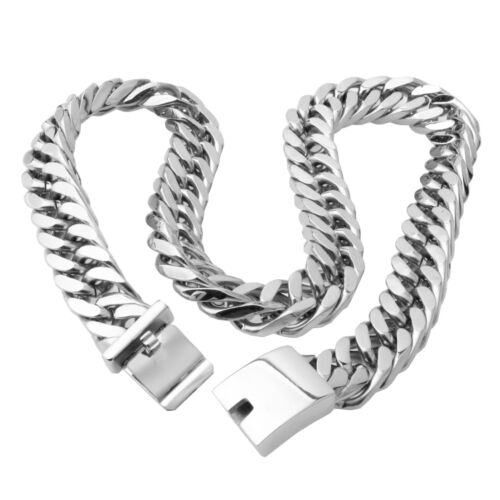 Mens Silver Tone Stainless Steel Heavy Miami Chain Cuban Link Necklace Jewelry