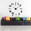Wall-Clock-Deco-Mirror-Wall-Decal-3D-Design-Wall-Clock-Living-Room-XXL-Silver miniature 2