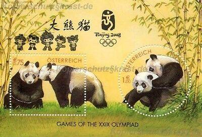 Österreich - Panda BÄr Block 18 Aufdruck Olympia Beijing 2008 ** - Ank Block 20 Bequemes GefüHl