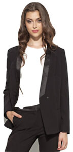326df6fac93 Veste noire femme de tailleur smoking costume col satin blazer NIFE ...