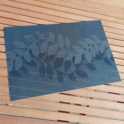 Black Leaves Placemats Floral Woven Pvc Dining Table Setting Outdoor Place Mats Ebay