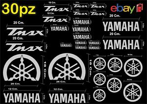 MAXI KIT 30 PEZZI SERIE DI ADESIVI YAMAHA TMAX  T- MAX 500 - 530 COLORE ARGENTO