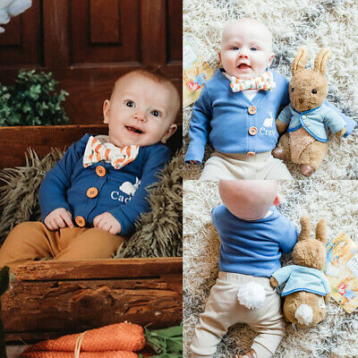 My 1st Easter Newborn Baby Boy Girl Romper Long Pants Hat Cotton Outfits Clothes