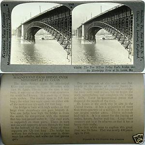 MO From 600//1200 Card Set #1148-A Keystone Stereoview EAD'S BRIDGE Louis St