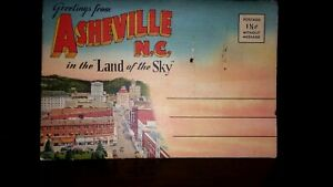 ASHEVILLE-N-C-1940-039-s-Postcard-Fold-Out-VINTAGE-SOUVENIR-FOLDER-9-cards