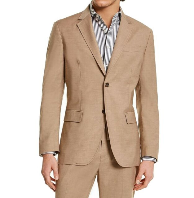 Tasso Elba Mens Sport Coat Beige Size Large L Classic Fit Stretch $119 #008