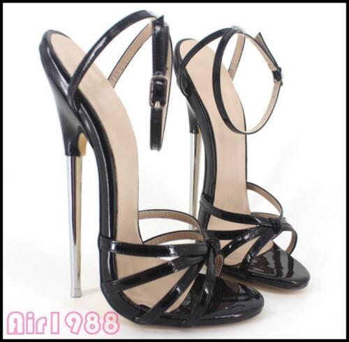 Femmes ouvert bride chaussures hauts stilettos la bout 18cm talons sexy sandales cheville à métal 0kNOZnP8wX