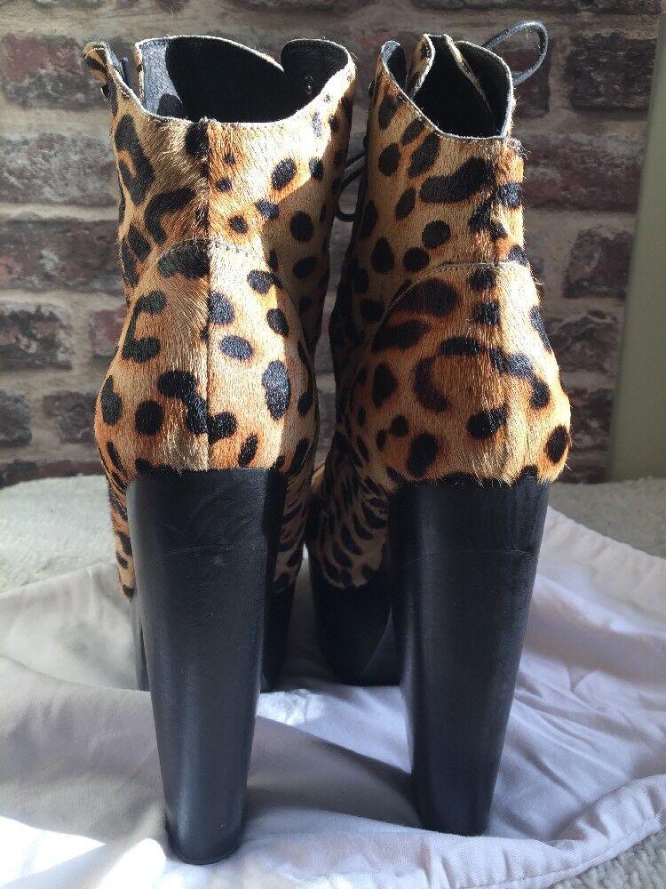 Descuento de liquidación Opening Ceremony X Chole Sevigny Platform Heels Pony Hair Leopard Lace Up Boots