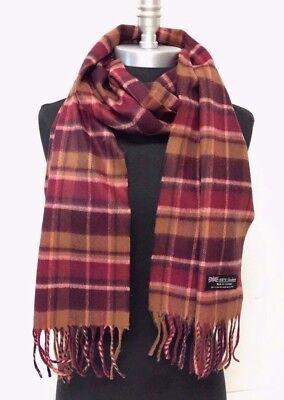New LONG CASHMERE SCARF Tartan Nova Check Plaid Scotland Wool Warm Brown-Wine
