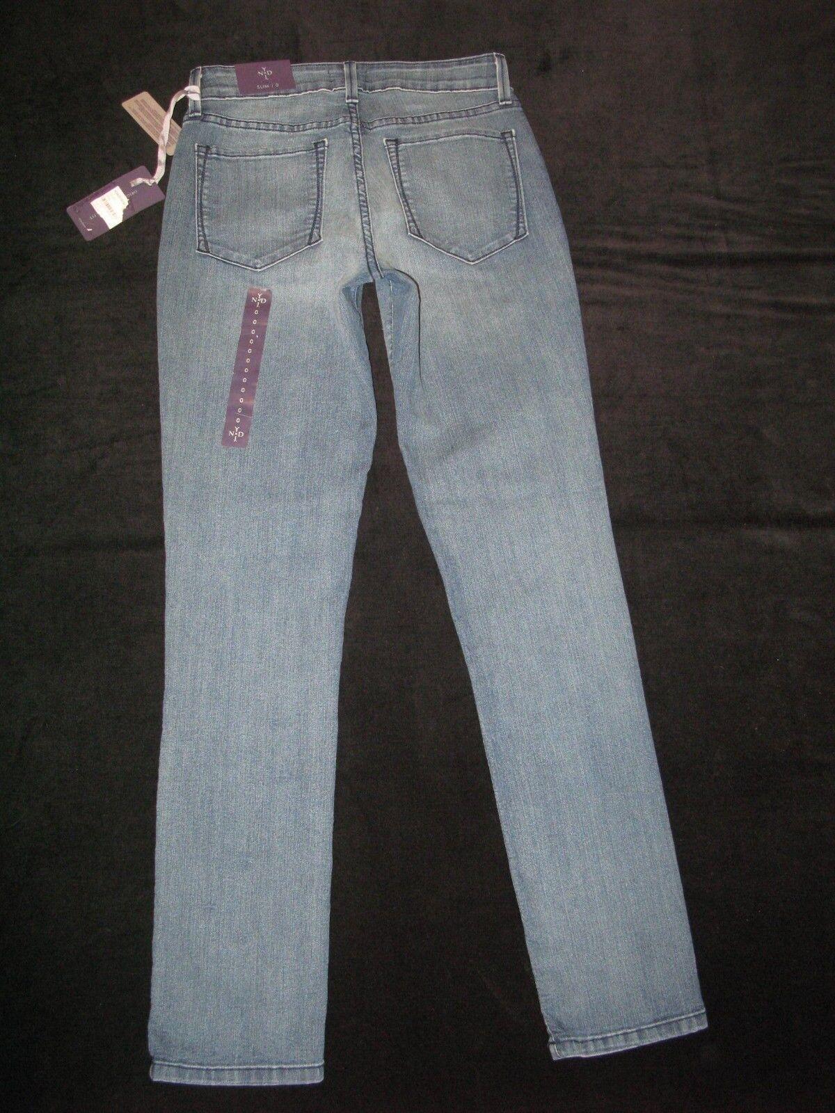 NYDJ Jeans Sheri Slim Vita Alta Dritto Sollevamento Tuck Sdrucito USA 0 Eu 30