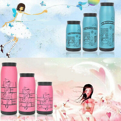 Cute Stainless Steel Vacuum Flask Insulated Travel Mug Cup Coffee Lid NEW