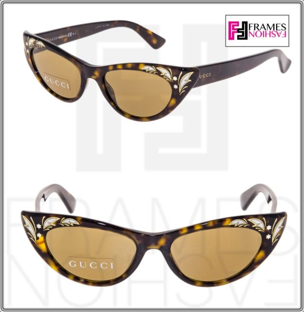 a21b583323 GUCCI 3807 Brown Havana Mother Of Pearl Thin Cat Eye Sunglasses GG3807S  Vintage