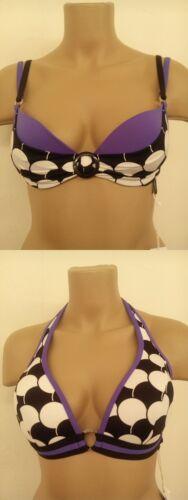 Bikini Top Playa Grandinetti Sapph NERO//BIANCO staffa con allacciatura al collo 70-85 A-C Cup