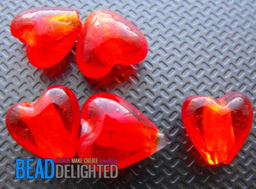 CHOOSE COLOUR 10 Silver Foil Glass Heart Lampwork Beads 12mm
