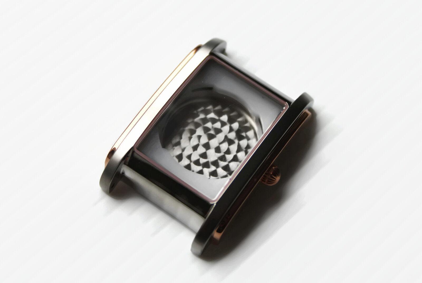 Uhren-Gehäuse ETA 2671 Eckig Bicolor Rose Vergoldet Tonneau Case Square POLJOT