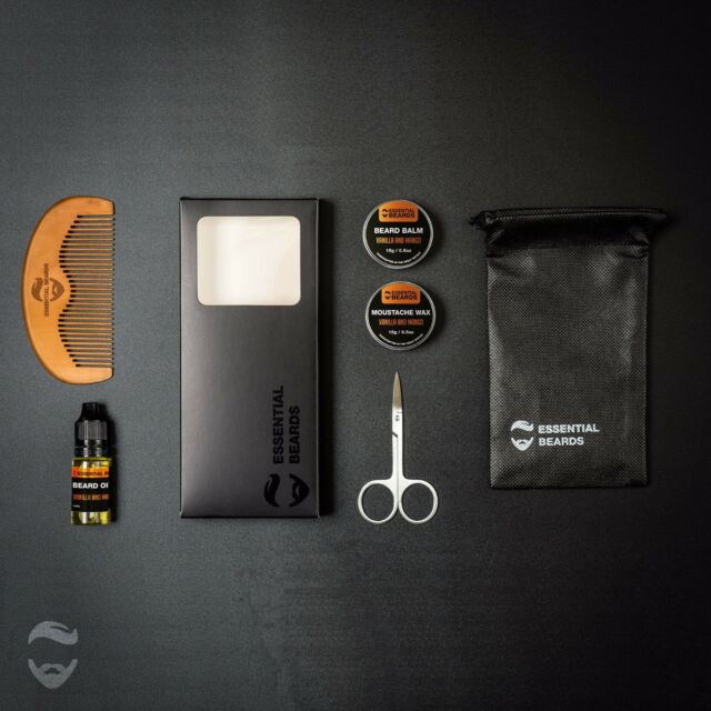 Essential Grooming Kit - VANILLA & MANGO 6pc set, Beard Balm, Oil, Wax, Comb 1A