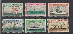 Europe-Cept-1963-Guernsey-Alderney-Ships-6-Values-Cinderella-MNH