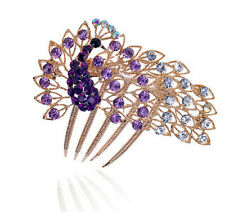 Luxury Sparkle Purple and Rose Gold Peacock Wedding Hair Comb Accessories  HA188