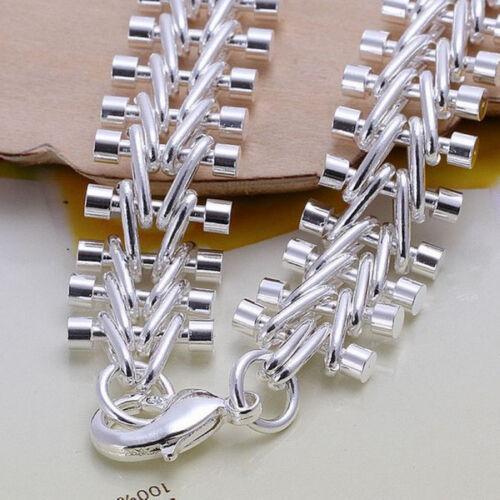 Argent Sterling 925 Argent Massif Cool Poisson Os Hommes Chaîne Femmes Bracelet GH050