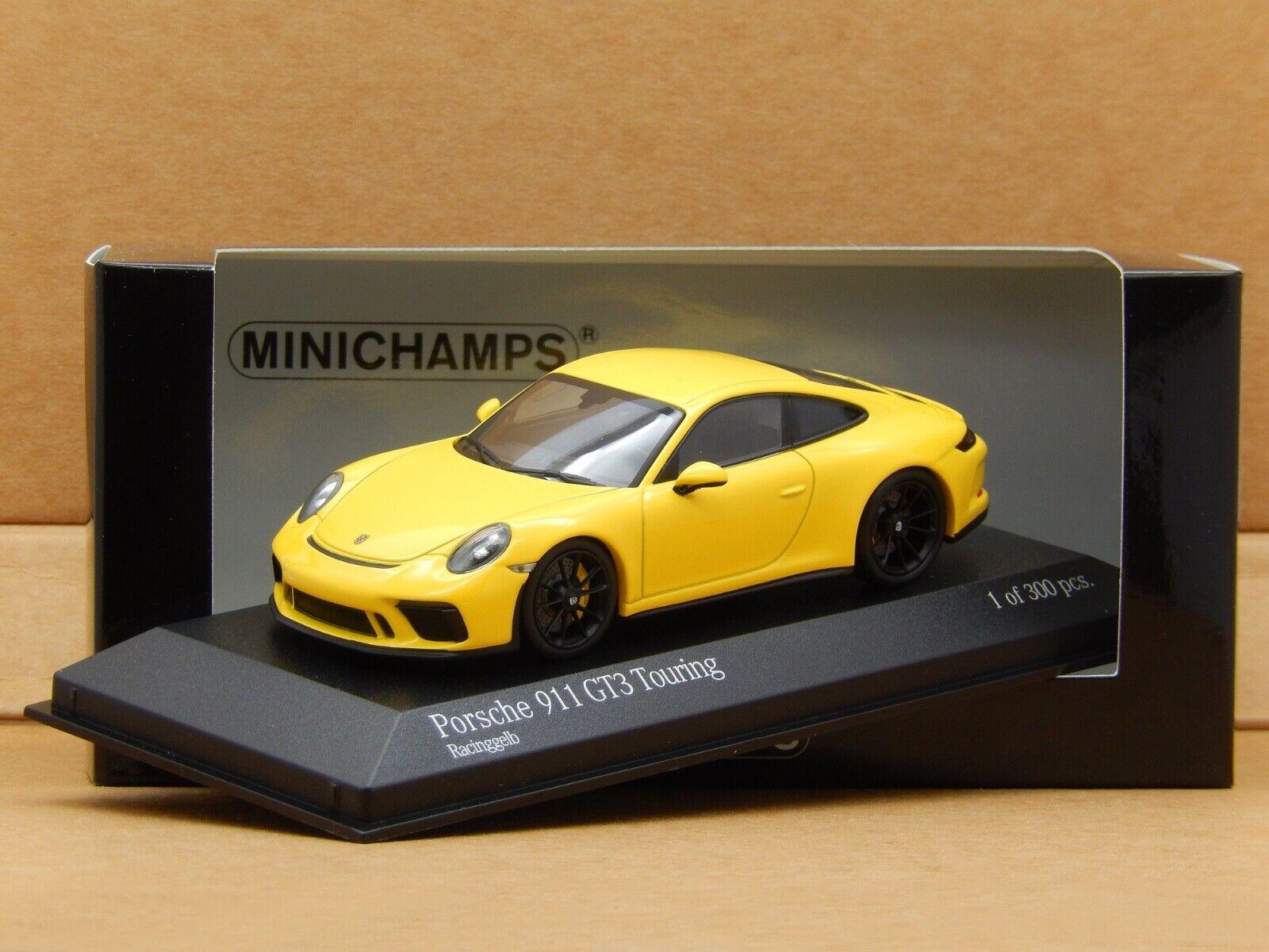 1 43 Porsche 911 GT3 Touring 991.2 Gelb Minichamps Diecast Model 410067421 New
