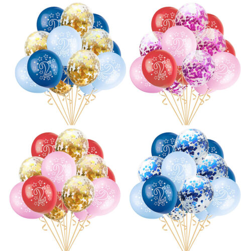 WR/_ FJ 15Pcs Baby 2nd Birthday Confetti Latex Balloons Inflatable Party Decor R
