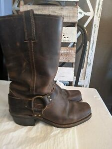 Frye-Harness-Distressed-Brown-Leather-Boots-Womens-size-8-M-USA-Made