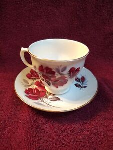 Queen-Anne-China-Cup-and-Saucer-Red-Roses-8621