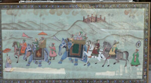 Vintage-Indian-Silk-Hand-Painted-Wedding-Procession