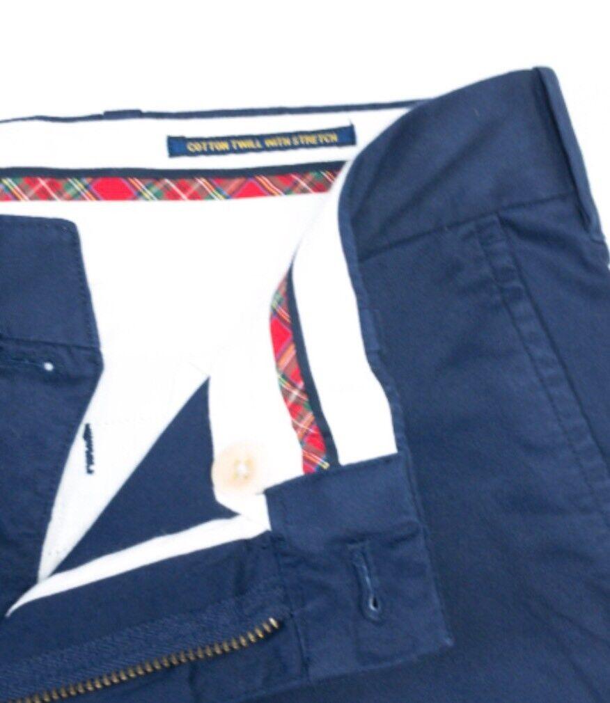 Ralph Lauren Blu Navy Cotone Twill Twill Twill Stretch Corta 12360b