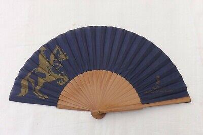 Discreto Vintage Hand Held Fan Cavalli D'andalusia Legno/costruzione Di Seta (f45)-mostra Il Titolo Originale