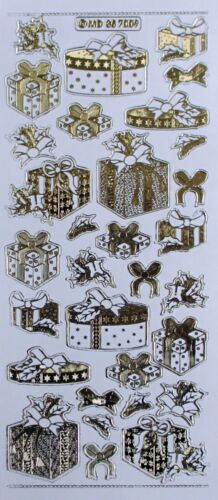 Double Embossed on Clear CHRISTMAS Presents Bows Holly PEEL OFF STICKERS