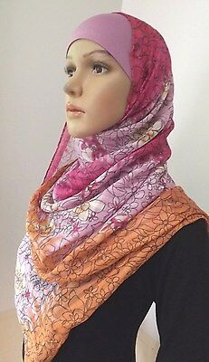 New Style Muslim Long Scarf Hijab FLORAL Islamic Shawls Jilbab Abaya .