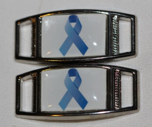 2 shoes//paracord Blue Ribbon Awareness Rectangle shoelace charm pair
