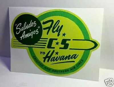 CS Airlines Havana Vintage Style Travel Decal / Vinyl Sticker, Luggage Label
